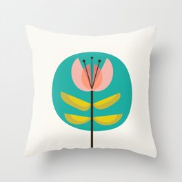 Retro Midcentury Flower Throw Pillow