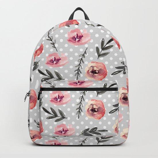 Red flowers. Watercolor Backpack