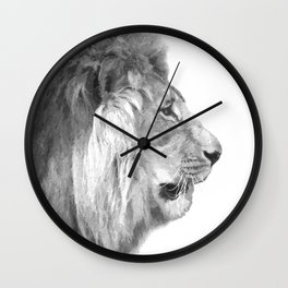 Black and White Lion Profile Wall Clock