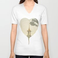 asia V-neck T-shirts featuring Asia Rain by Eva Nev