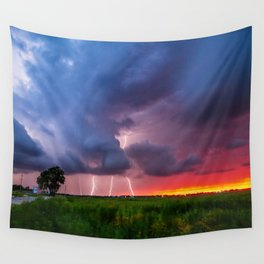 Quad Strike - Lightning Rains Down on the Oklahoma Landscape Wall Tapestry