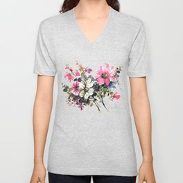 Blooming Joy Watercolor Loose Floral Painting by Mylittlebasil.studio Unisex V-Neck