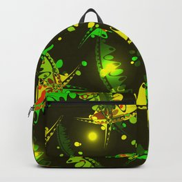 Glowing pattern of delicate leaves and petals of garden plants in summer green and yellow tones. Backpack