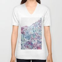 cleveland V-neck T-shirts featuring Cleveland map by MapMapMaps.Watercolors