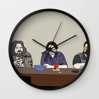 the big lebowski Wall Clocks featuring The Big Lebowski by Josh Ross Illustration