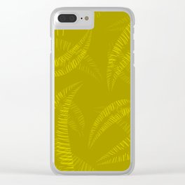 Pattern of yellow and orange feathers and leaves on an olive Clear iPhone Case
