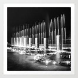 Branson Landing Fountains - Square Monochrome Edition Art Print
