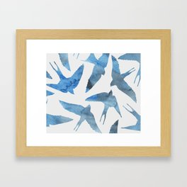 Watercolor birds - sapphire ink Framed Art Print
