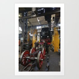 Disassembled steam locomotive Art Print