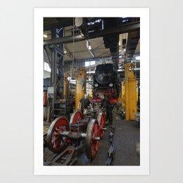 Disassembled steam locomotive Art Print