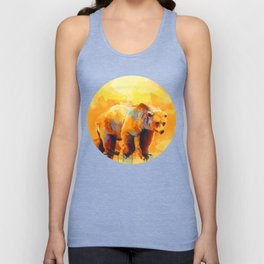 Bear Dream - Colorful orange yellow grizzly bear digital art Unisex Tank Top