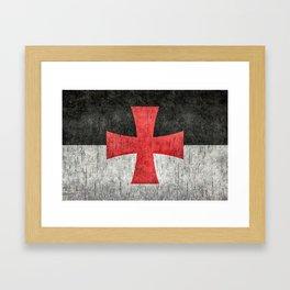 Knights Templar Flag in Super Grunge Framed Art Print