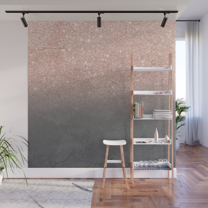 Rose gold glitter ombre grey cement concrete Wall Mural by ...