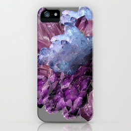PURPLE AMETHYST WHITE QUARTZ CRYSTALS iPhone Case