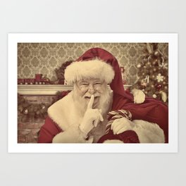 Vintage Santa Claus with his fingers on his lips Art Print