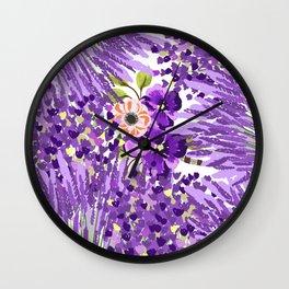 Lilac violet lavender lime green floral illustration Wall Clock