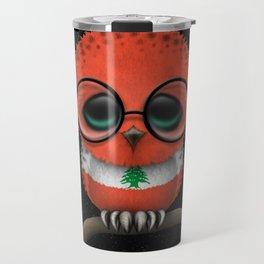Baby Owl with Glasses and Lebanese Flag Travel Mug