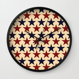Vintage look Americana Large Stars Tan Beige Navy Blue and Red Wall Clock