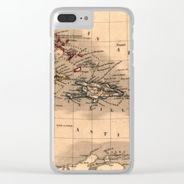 Map Of The Caribbean 1843 Clear iPhone Case