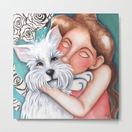Sweet Coconut Original Art Schnauzer and girl Portrait Metal Print