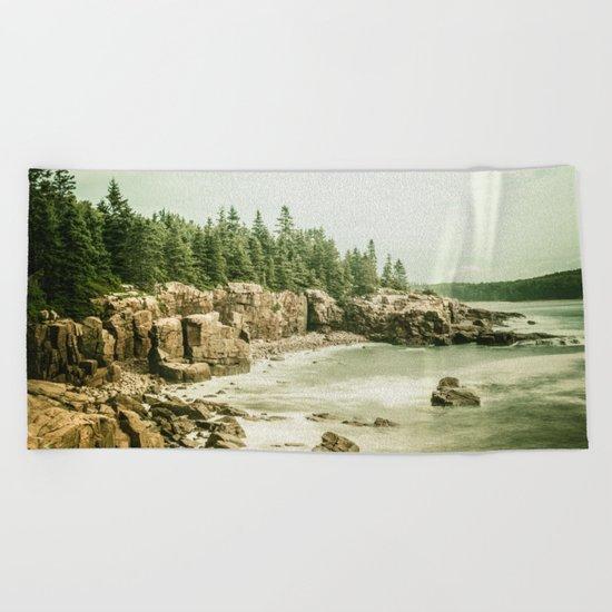 Acadia National Park Maine Rocky Beach Beach Towel