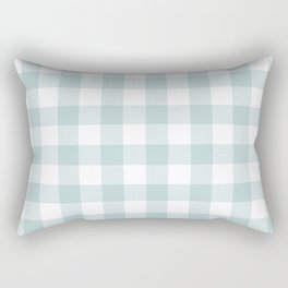Charcoal Sky Checker Gingham Plaid Rectangular Pillow