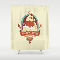 drunk Shower Curtains featuring Drunk Sailor by Ariel Fajtlowicz