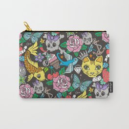 Tattoo Cats,Roses,Strawberry,Skulls Carry-All Pouch