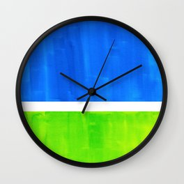 Abstract Minimalist Mid Century Modern Watercolor Geometric Squares Rothko Lime Green Marine Blue Wall Clock