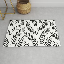 Seamless Black And White Leaves Pattern Rug