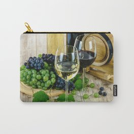 Glasses of Wine plus Grapes and Barrel Carry-All Pouch
