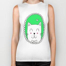 Kitty Cat Carla (Green) Biker Tank