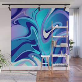 Liquify in Turquoise, Lavender, Purple, Navy Wall Mural