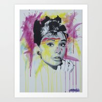 hepburn Art Prints featuring Hepburn  by Michael J Illustrations