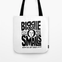 biggie smalls Tote Bags featuring Biggie Smalls for Mayor by Chris Piascik