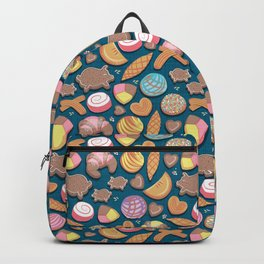 Mexican Sweet Bakery Frenzy // turquoise background // pastel colors pan dulce Backpack