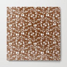 Chocolate Brown Floral Pattern Metal Print