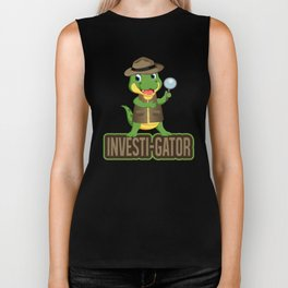 Investi Gator Alligator In A Vest, Funny Reptile Pun, Reptile Swamp Cat Investigate, Researchers Biker Tank