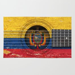 Old Vintage Acoustic Guitar with Ecuadorian Flag Rug