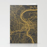 cincinnati Stationery Cards featuring Cincinnati map by Map Map Maps