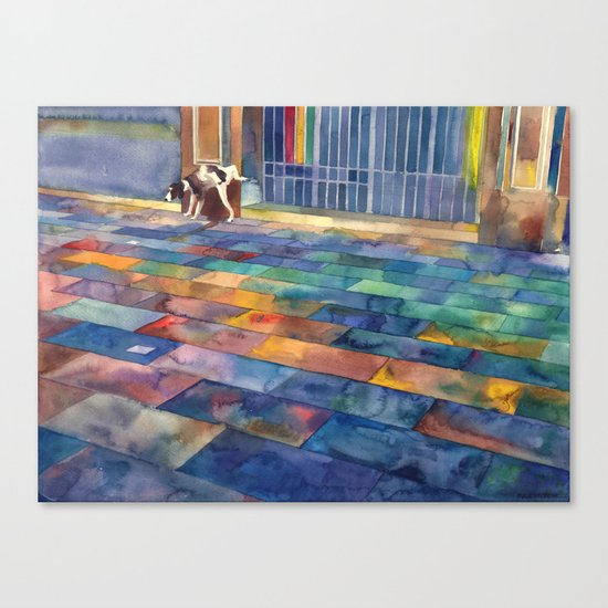 Dog and the city Canvas Print