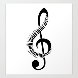 Treble clef sign with piano keyboard Art Print