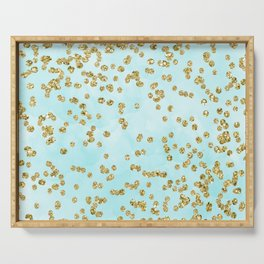 Sparkling gold glitter confetti on aqua ocean blue watercolor background - Luxury pattern Serving Tray