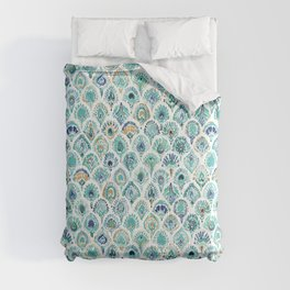 PEACOCK MERMAID Nautical Scales and Feathers Comforters