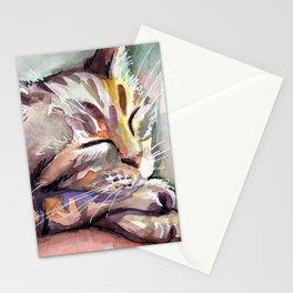 Cute Sleeping Kitten Watercolor Stationery Cards
