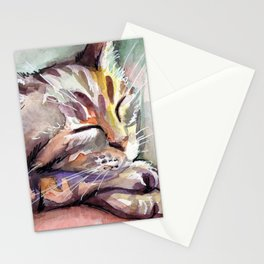 Cute Sleeping Kitten Watercolor Stationery Cards