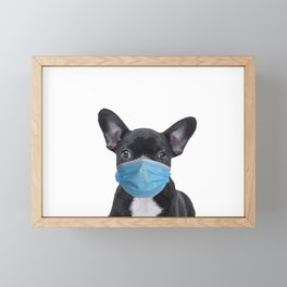 French Bulldog with Mouth Nose Mask - Frenchie Framed Mini Art Print