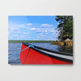 Red canoe in Shelburne, Nova Scotia Metal Print