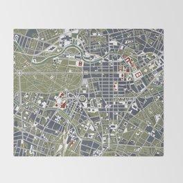 Berlin city map engraving Throw Blanket