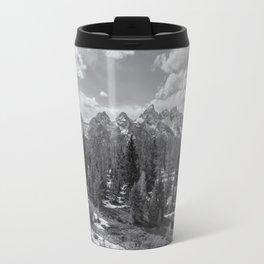 Grand Tetons from Schwabacher Road bw Travel Mug
